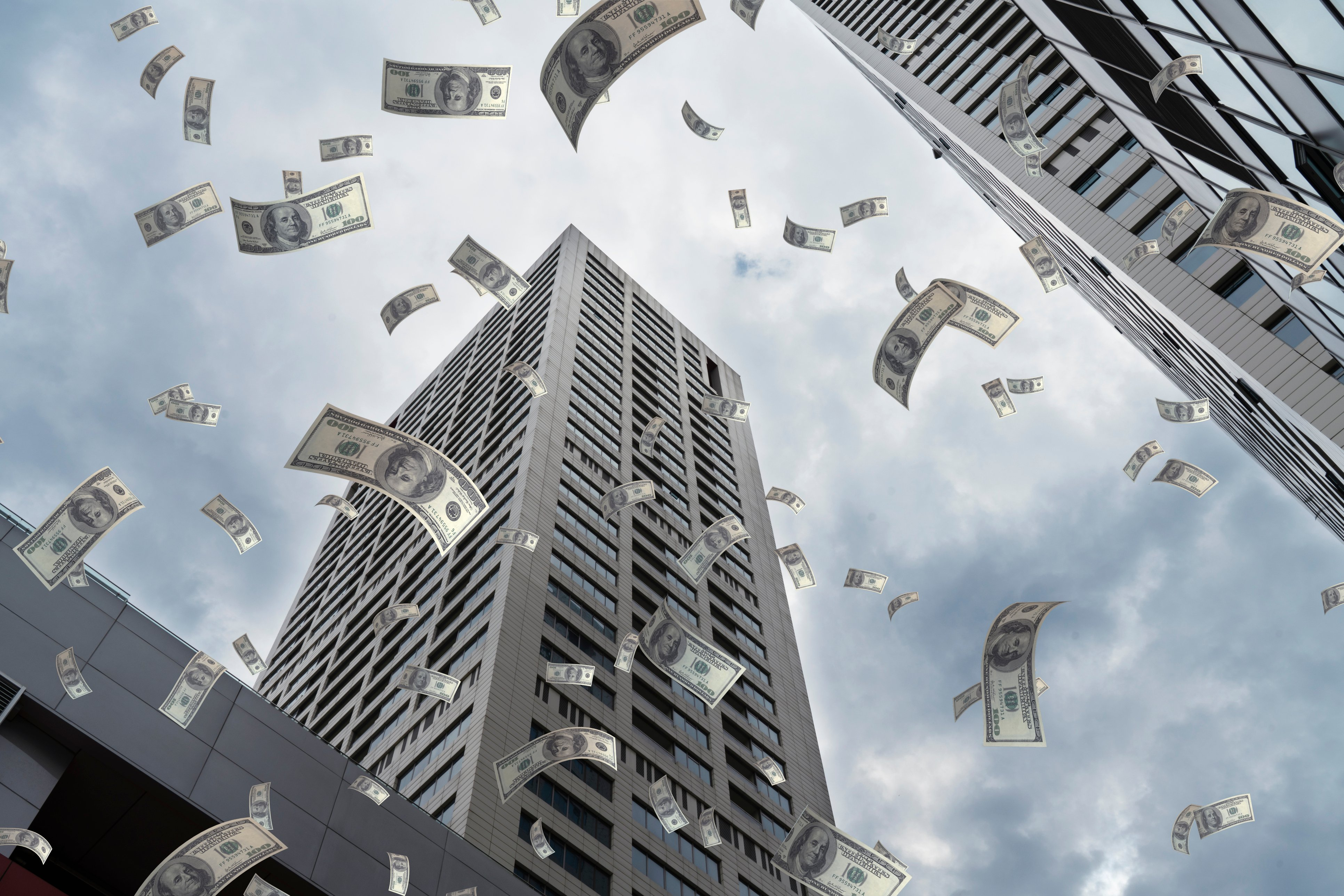 Pluie de billets de dollars sur la banque