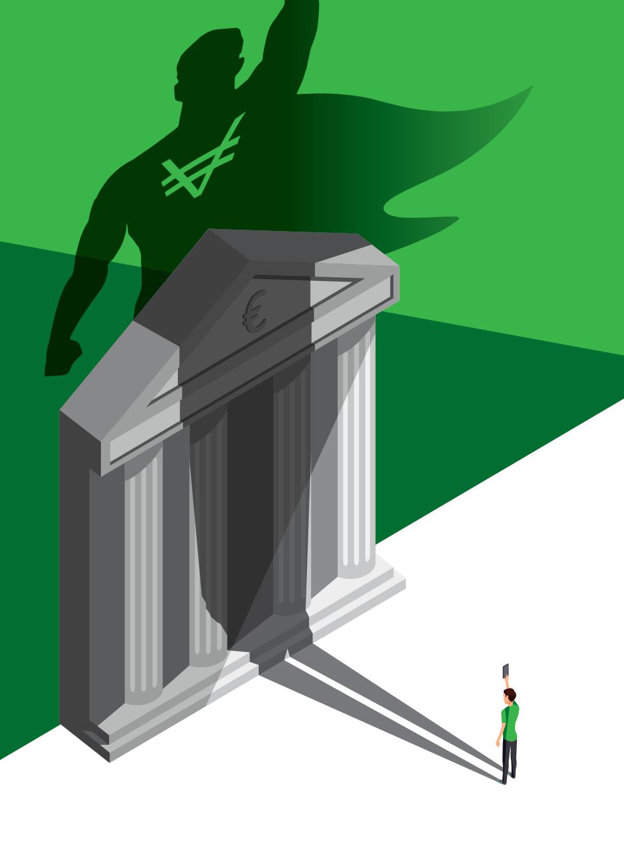 Super héros VeraCash face à une banque