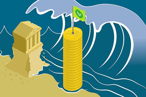 Chateau de sable s'effondrant sous une vague