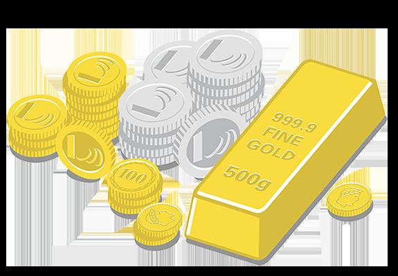 Lingot d'or, VeraValor, VeraSilver et pièces de collection