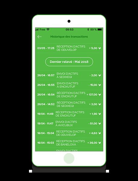 Application VeraCash liste des transactions