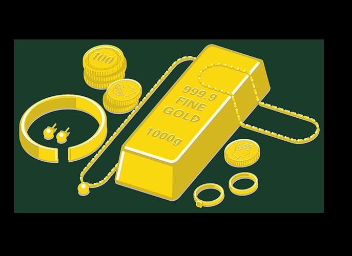 Lingots, bijoux et pièces en or