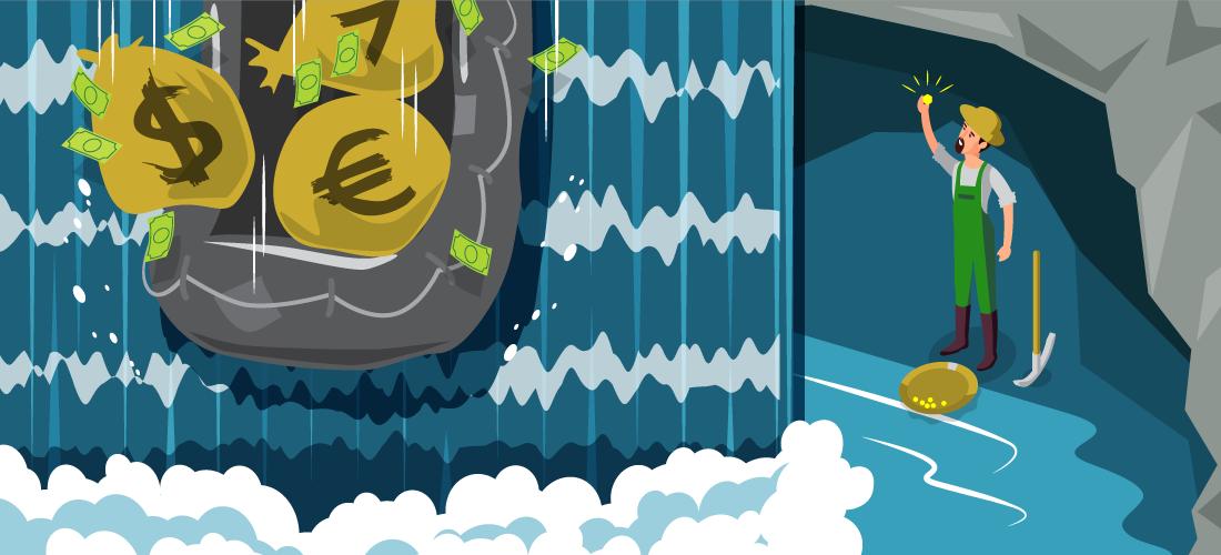 Chercheur d'or derrière une cascade de devises fiat