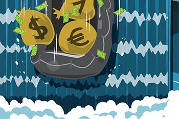 Sacs de monnaies qui tombent d'une cascade