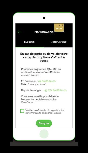 Bloquer la carte avec l'app VeraCash