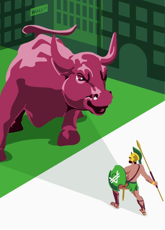 Taureau de Wall Street faisant face à un spartiate VeraCash